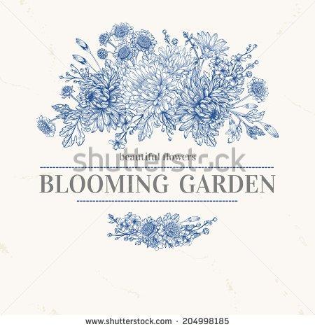 Bohemian garden chrysanthemum clipart.