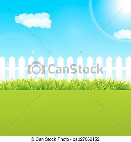 Clipart Vector of Summer garden scene with wooden fence and blue.