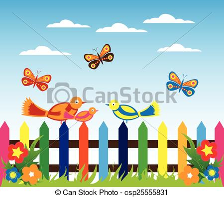 Vectors Of Morning Garden Background Vector Illustration.