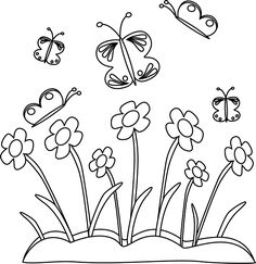 Spring flowers. Seamless floral border. Poppies, iris, tulips.