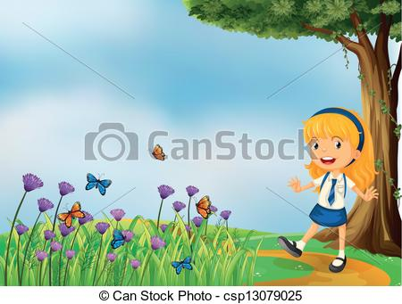 Vector Illustration of A young school girl in the garden with.