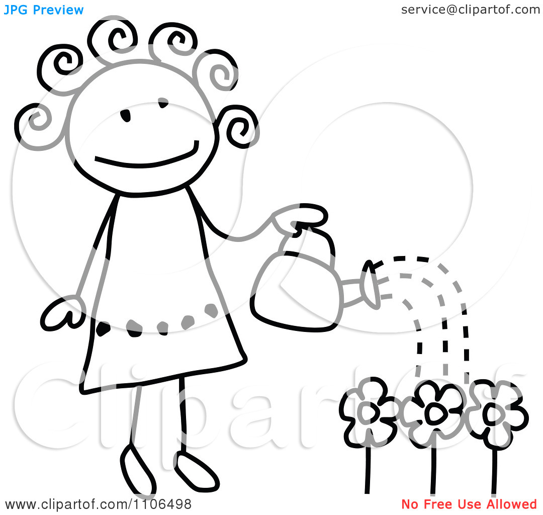 Clipart Black And White Stick Gardening Drawing Of A Happy Girl.