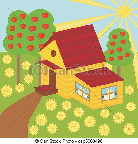 Vector of nice house and garden.