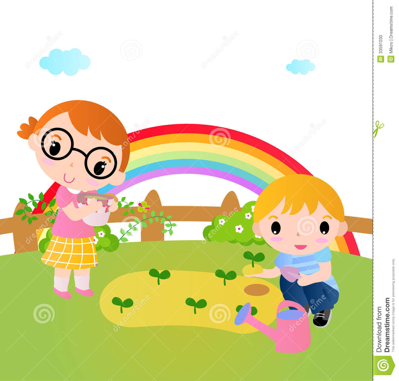 Two Happy Kids Planting Plants In The Garden Stock Photo.