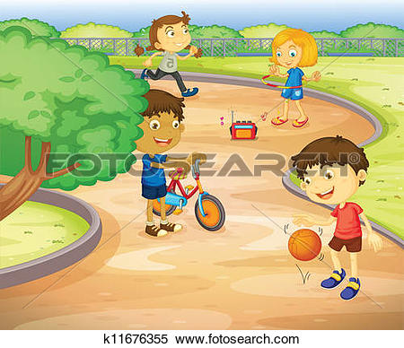 Clipart of Kids playing in garden k11676355.