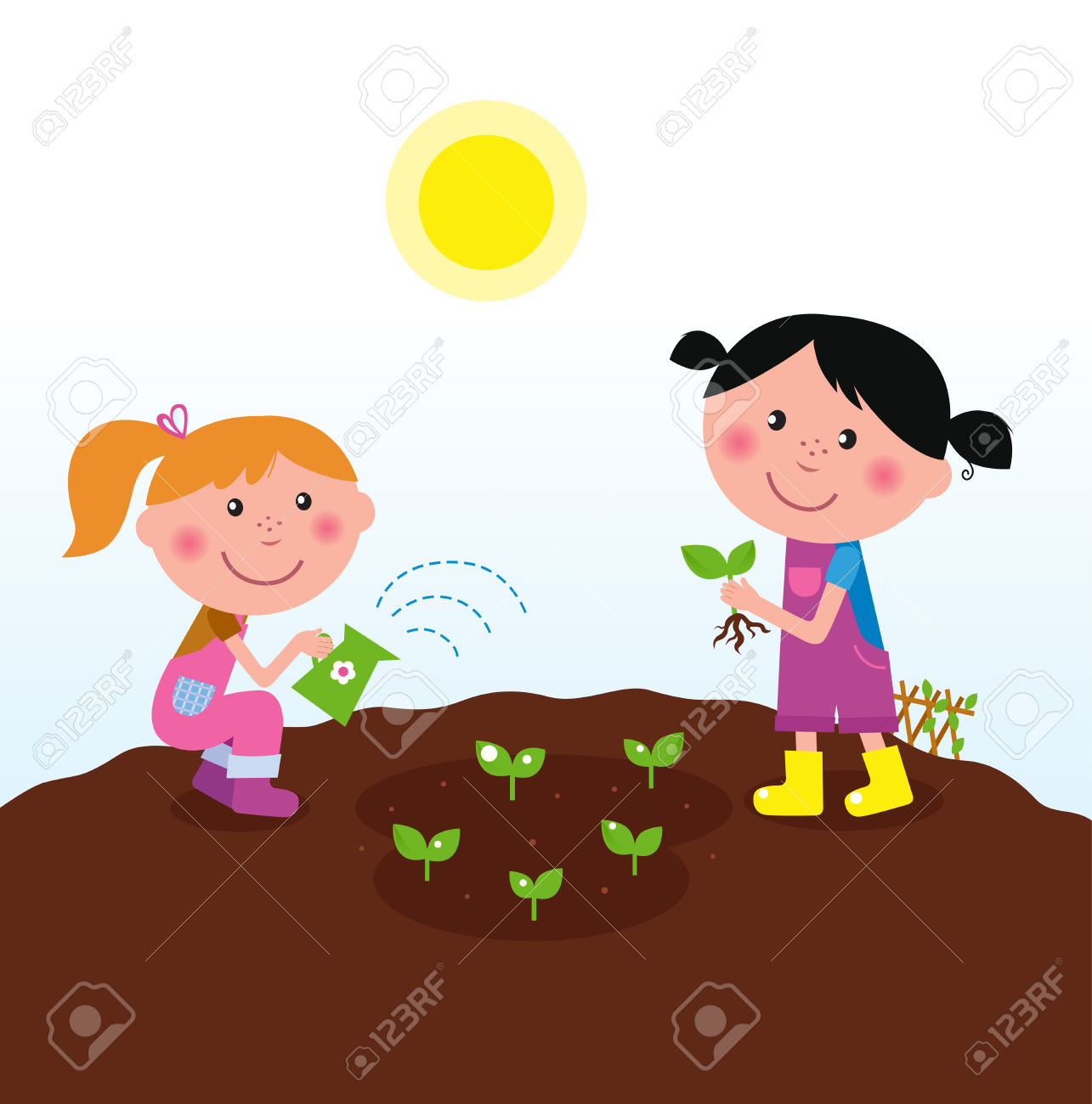 Two Happy Kids Watering And Planting Plants In The Garden Royalty.