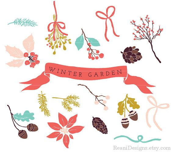 Winter Garden Clipart and Photoshop Brushes for personal and.