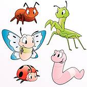 Garden Insects Clip Art.