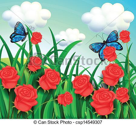 Vector Clipart of Butterflies in the garden.