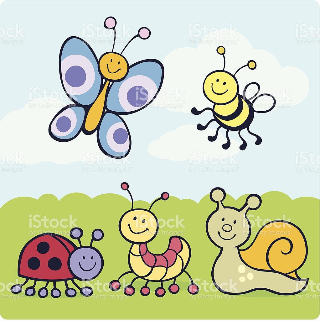 Cute Cartoon Garden Creatures stock vector art 163858510.