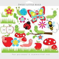 Garden Bugs Cute Digital Clipart.