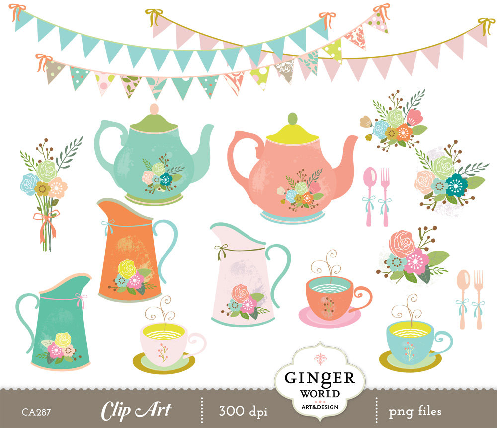 Teapot clipart, tea cup, rustic garden flowers, shabby chic vase.