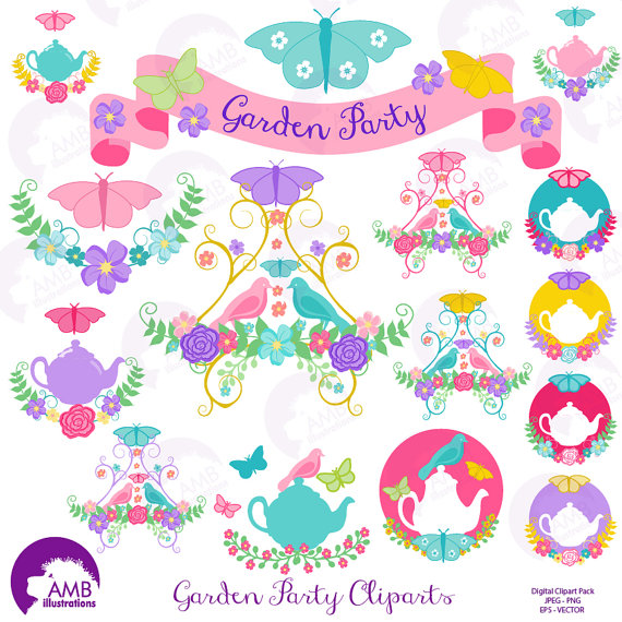 Tea time clipart Garden clipart Tea cup Banner by AMBillustrations.