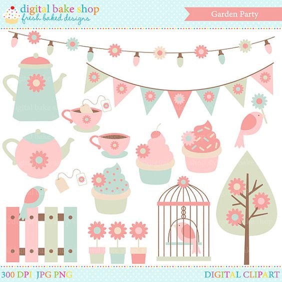 spring garden clip art clipart party tea birds flowers.