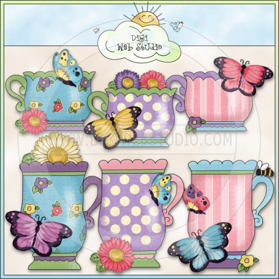 Grandma's Butterfly Garden Teacups 1.