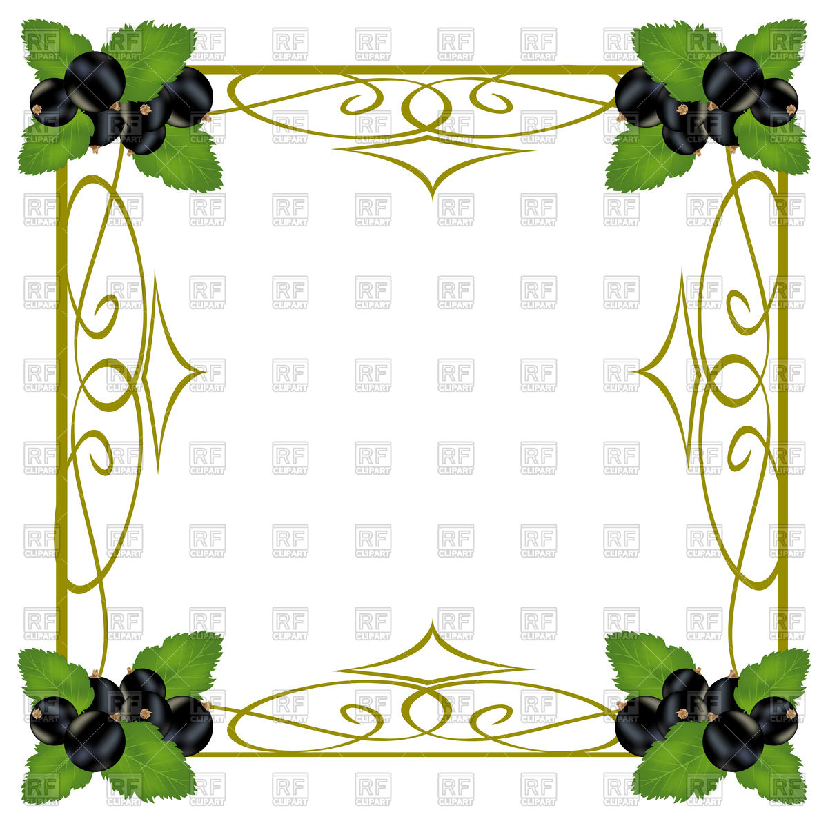 Black currant berries in decorative frame Vector Image #94014.