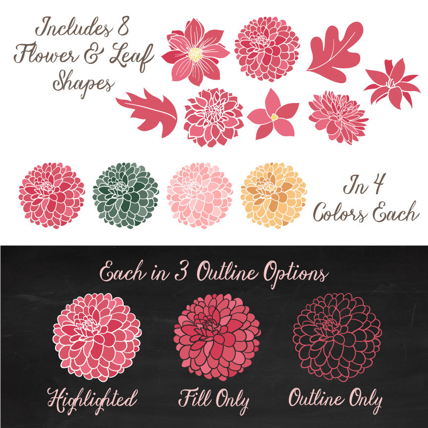 Dahlia Clipart in Rose Garden.