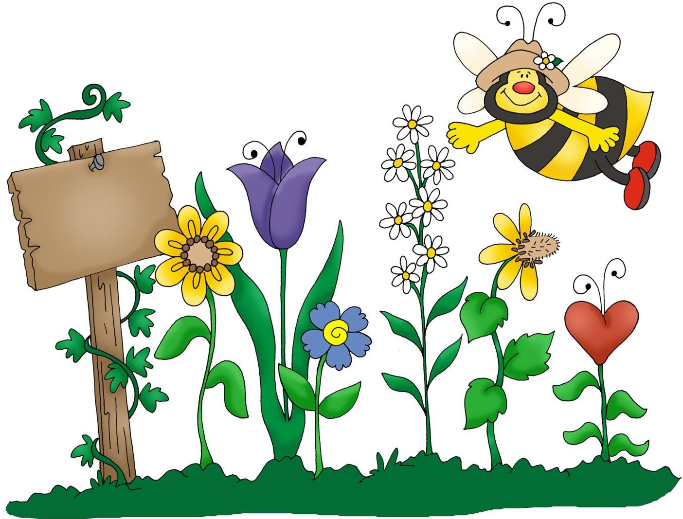 A bee in agarden clipart.