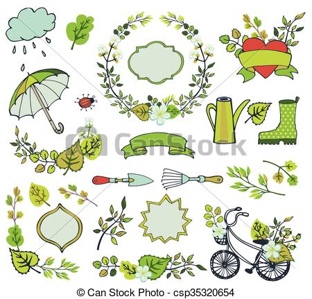 Clipart Vector of Spring leaves ,branches,flowers.Plant.