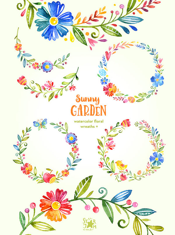 Sunny Garden. Wreaths watercolor clipart flowers greetings by.