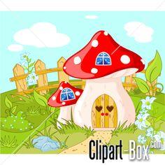 Color mushrooms vector.