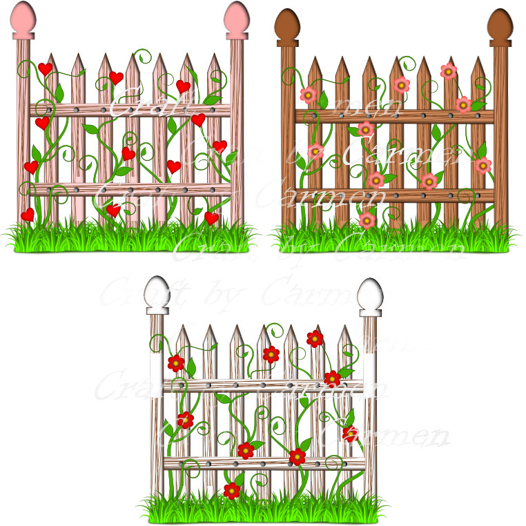 Fence flower garden clip art scrapbook graphic design.