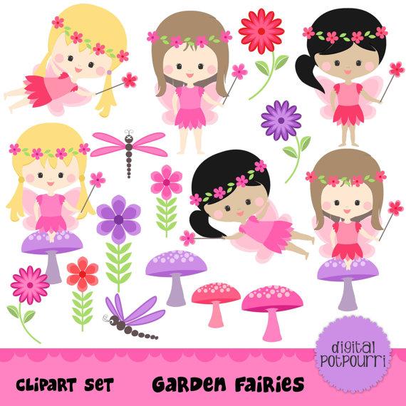 Garden fairy clipart.