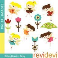 Clip art Retro Garden Fairy.