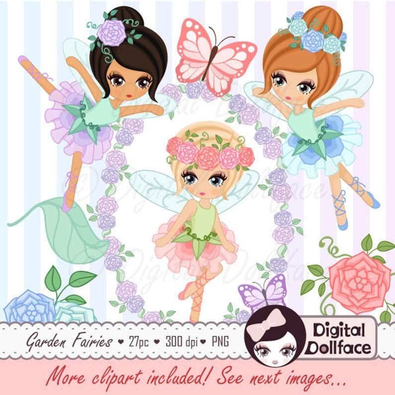 Fairy Clipart, Garden Fairies Clip Art for Fairy Birthday, Printable  Graphics, Flower Frames.