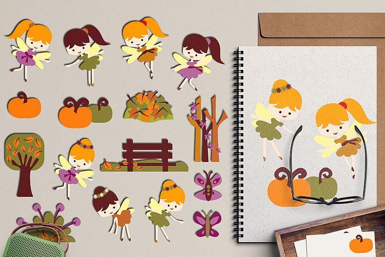 Autumn fairies clipart graphic illustration, garden fairy.