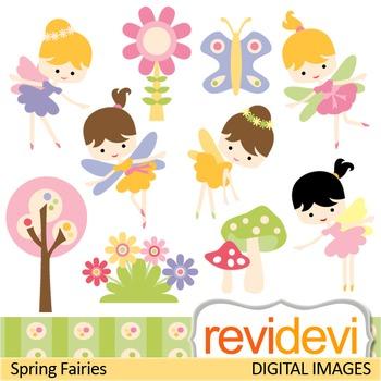 Clip Art: Cute Spring Fairies (girls, garden, fairy) clipart.
