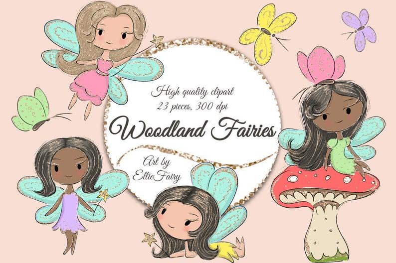 Fairy Clipart, Woodland Garden Fairies Clipart, Fairies Clip Art, Fairy  Clip Art, Butterflies Clipart, Butterflies Clip Art, Pixie Clipart.