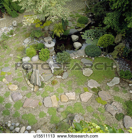 Stock Photo of Aerial view of paving stones and small water.