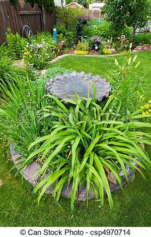 Stock Photo of Bird Bath Garden Feature.