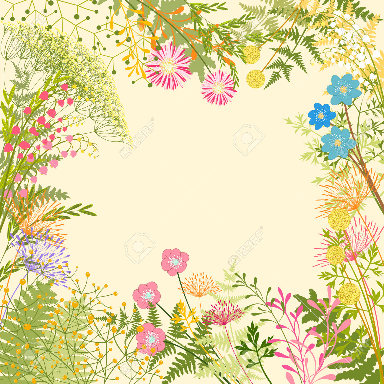 Springtime Colorful Flower Herb Garden Party Background Royalty.