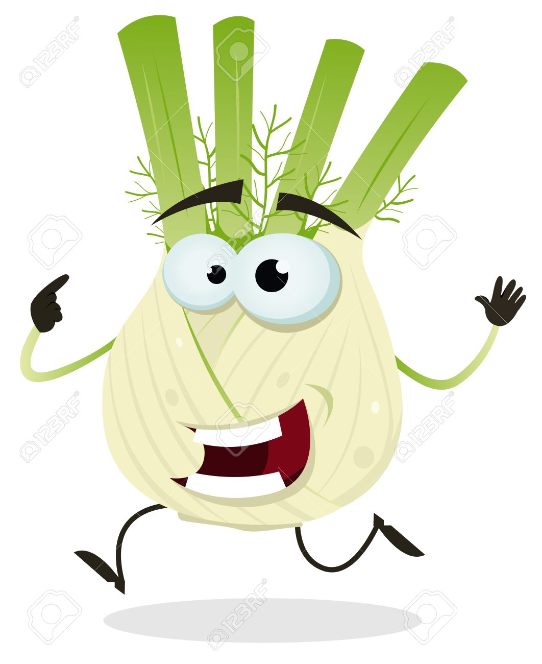 Illustration Of A Funny Happy Cartoon Fennel Vegetable Character.