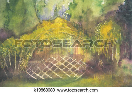 Stock Illustrations of Yellow Forsythia blossoming in forest.