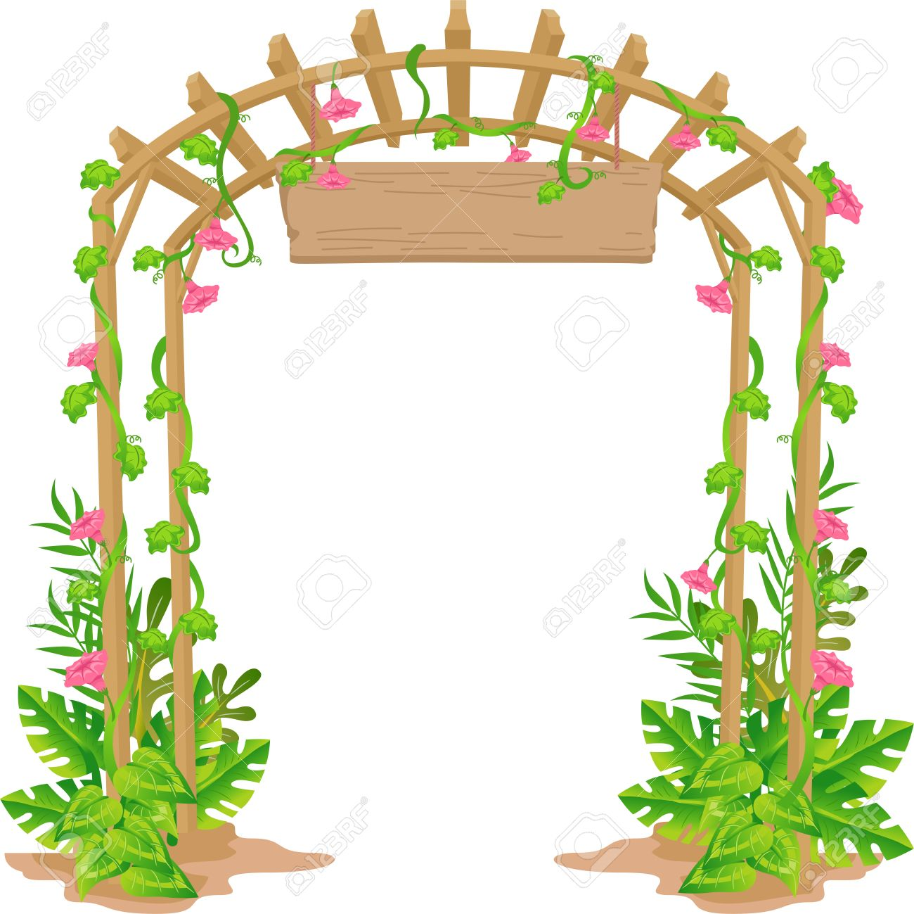 Garden Gate Welcome Clipart.