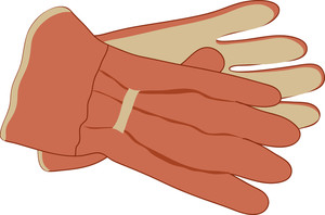 clip art image of a pair of gardening gloves.