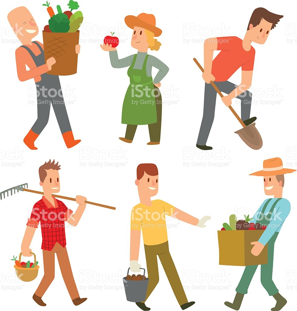 Garden Harvest People Vector Character stock vector art 592009790.