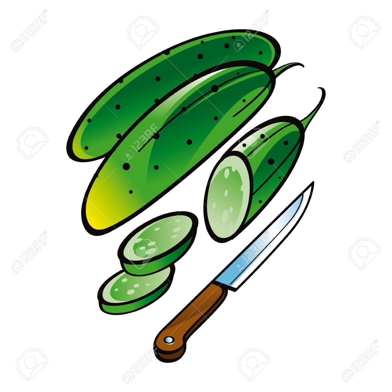 Juicy Fresh Vegetable Cucumber With Knife Food Market Garden.
