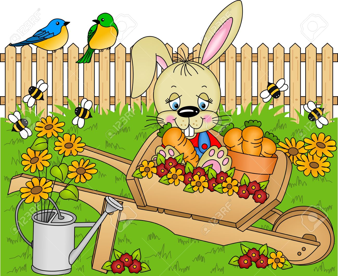 Rabbit Harvest Carrots In The Garden Royalty Free Cliparts.