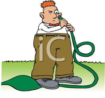 Royalty Free Clip Art Image: Man Looking Into a Garden Hose About.