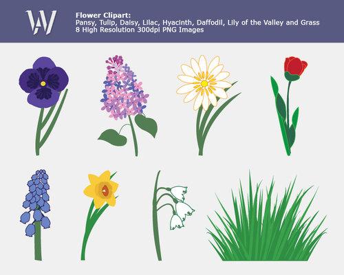 Spring Garden Flower Clip Art, clipart images, tulip, daisy, grass.