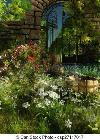 Clipart of Garden Idyll, 3d CG.
