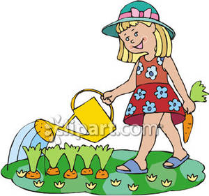 Watering Vegetables Clipart.