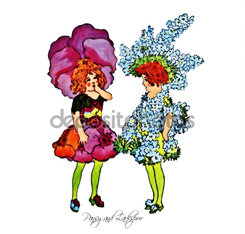 Flower Children Pansy and Larkspur — Stock Vector © JRTBurr #107520468.