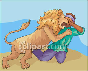 Attacking a Man Royalty Free Clipart Picture.