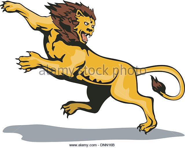 Lion Attack Stock Vector Images.
