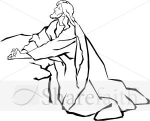 Jesus in the Garden of Gethsemane in Black and White.